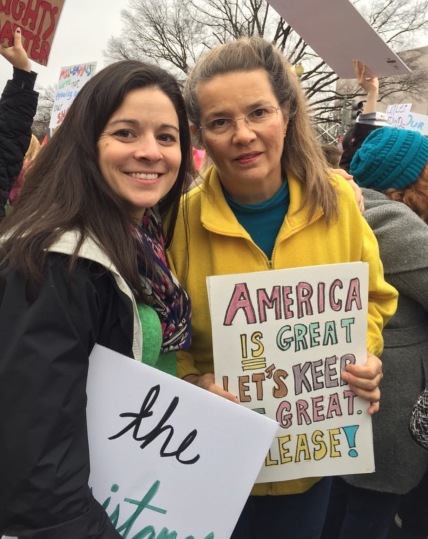 Nancy Bach at the Women's March on washington with her daughter